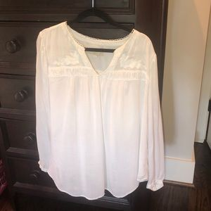 Loft 20 plus white peasant shirt boho